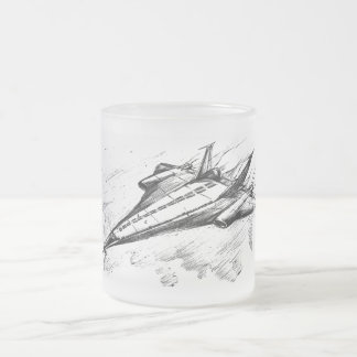 Retro vision-17-Supersonic jet plane 10 Oz Frosted Glass Coffee Mug