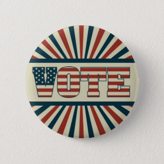 Retro vote, all gear pinback button