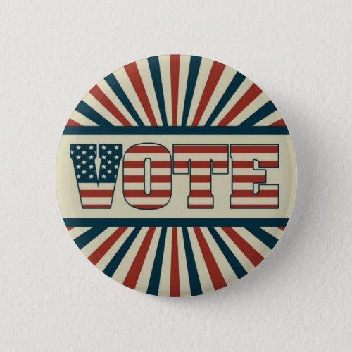 Retro vote all gear pinback button