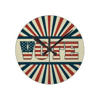 Retro voting gear round clock