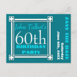 "Retro W 60th birthday Party Save the date Announcement Postcard<br><div class=""desc"">Vintage and retro style for this customizable 60th birthday Save the date (postcard) with white frame. You can easily change color background and text (font, color, size and position) by clicking the customize button. Matching Birthday favor box, birthday guest book (hard cover, spiral notebook and binder), Save the date label...</div>"