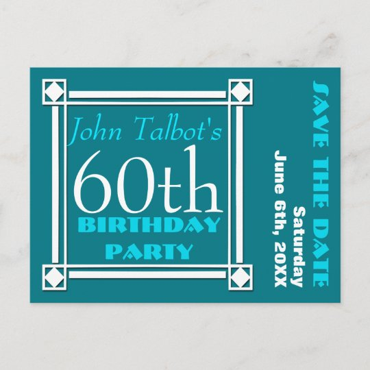 Retro W 60th Birthday Party Save The Date Announcement Postcard