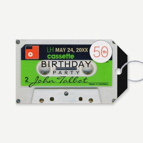 Retro W Audiotape 50th Birthday Thank You Gift Tag