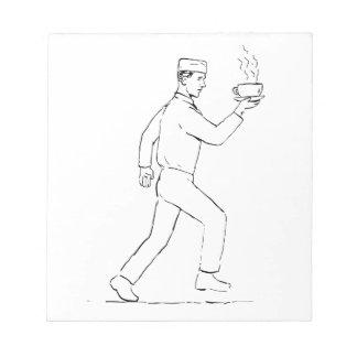 Retro Waiter Running Serving Coffee Drawing Notepad