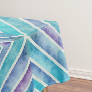 Retro watercolor abstract geometric blue, purple tablecloth