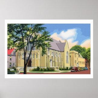 Retro watercolor church Franklin PA Poster