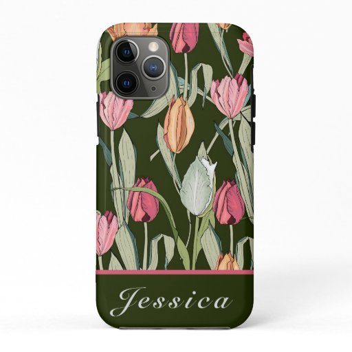 Retro Watercolor Tulips Floral Pattern iPhone 11 Pro Case