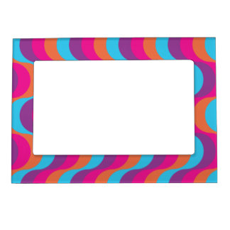 Retro waves in blue, orange, pink and purple magnetic photo frame