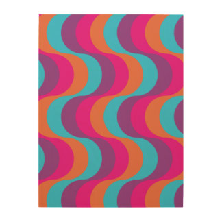 Retro waves in blue, orange, pink and purple wood wall decor