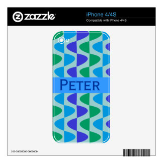 Retro Waves Modern with  Custom Name Skins For iPhone 4S