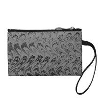 Retro Waves Vintage Swirls Charcoal Black Change Purse