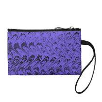 Retro Waves Vintage Swirls Purple Blue Bagettes Coin Wallet
