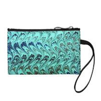 Retro Waves Vintage Swirls Teal Sage Bagettes Coin Wallet