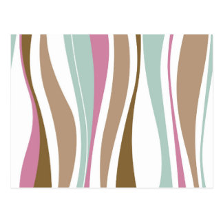 Retro Wavy Brown, Blue & Pink Design Postcard