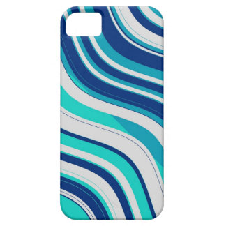 Retro Wavy Stripes Pattern (Blue, Aqua, White) iPhone SE/5/5s Case