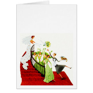 Retro Wedding Bouquet Toss Blank Bridal Note Card