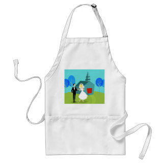 Retro Wedding Couple Apron
