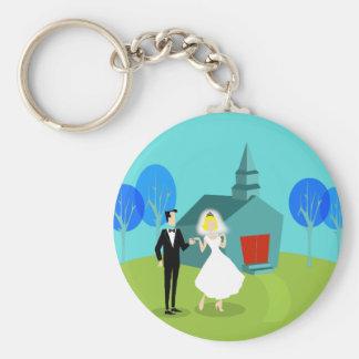 Retro Wedding Couple Button Keychain