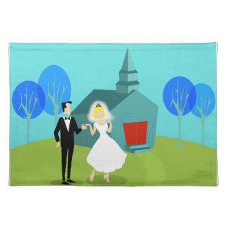 Retro Wedding Couple Cloth Placemat