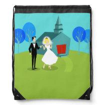 Retro Wedding Couple Drawstring Backpack