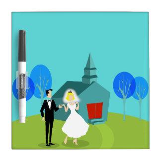 Retro Wedding Couple Dry Erase Board
