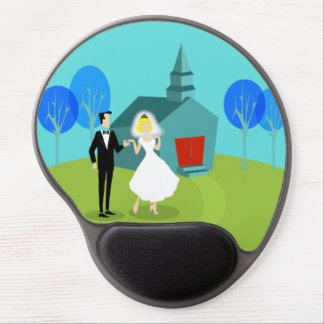 Retro Wedding Couple Gel Mousepad