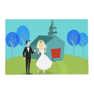 Retro Wedding Couple Laminated Placemat