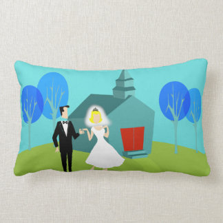 Retro Wedding Couple Lumbar Pillow