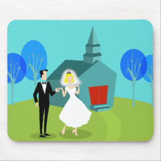 Retro Wedding Couple Mousepad