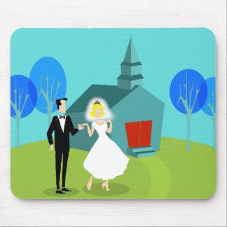 Retro Wedding Couple Mousepad