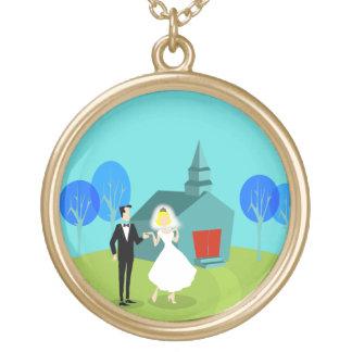Retro Wedding Couple Necklace