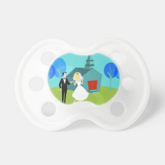 Retro Wedding Couple Pacifier