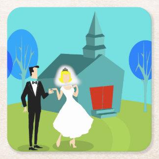 Retro Wedding Couple Paper Coasters Square Paper Coaster