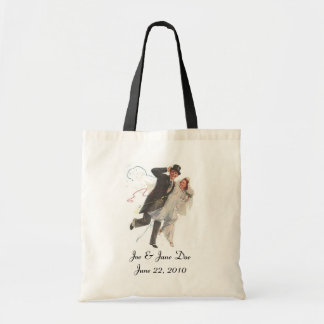RETRO WEDDING COUPLE ~ PERSONALIZED SHOPPING TOTE BUDGET TOTE BAG