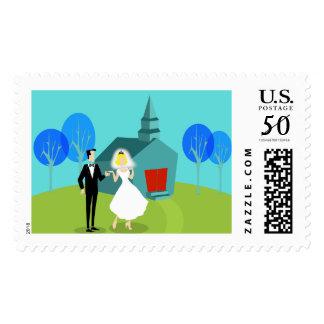 Retro Wedding Couple Postage Stamps