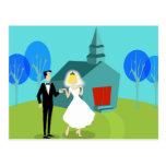 Retro Wedding Couple Postcard
