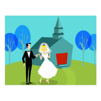 Retro Wedding Couple Postcard