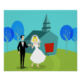 Retro Wedding Couple Poster