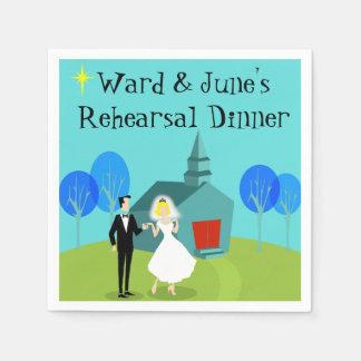 Retro Wedding Couple Rehearsal Dinner Napkins
