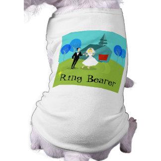 Retro Wedding Couple Ring Bearer Dog T-Shirt