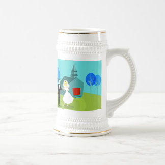 Retro Wedding Couple Stein