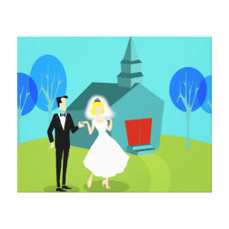 Retro Wedding Couple Stretched Canvas Print