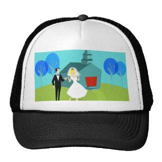 Retro Wedding Couple Trucker Hat