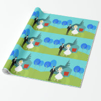 Retro Wedding Couple Wrapping Paper