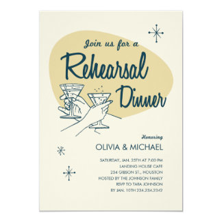Contemporary Couple Wedding Rehearsal Dinner Invitations
