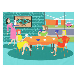 Retro Weekly Women's Card Game Tablecloth