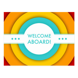 retro welcome aboard postcard