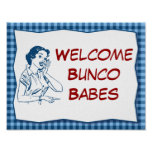 Retro Welcome Bunco Babes Sign Poster