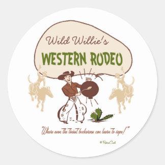 Retro 'Western Rodeo' Classic Round Sticker