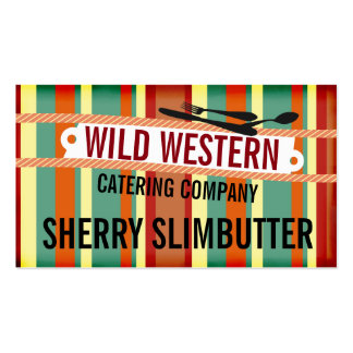 Retro western stripes utensils chef catering business card